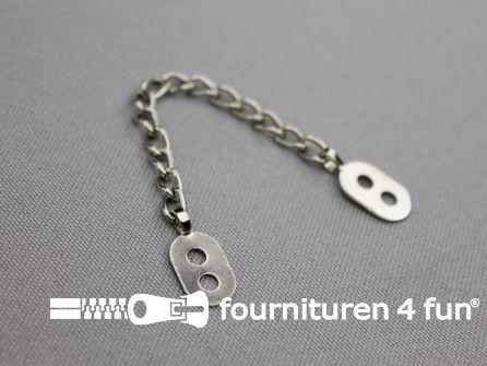 Jaslusjes - jasketting metaal - zilver 5 stuks los verpakt