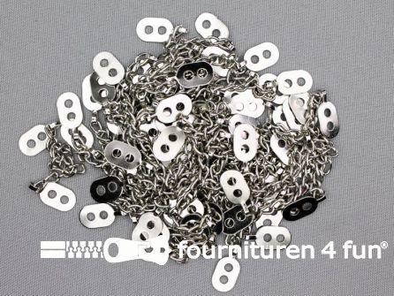 Jaslusjes - jasketting metaal - zilver 50 stuks los verpakt