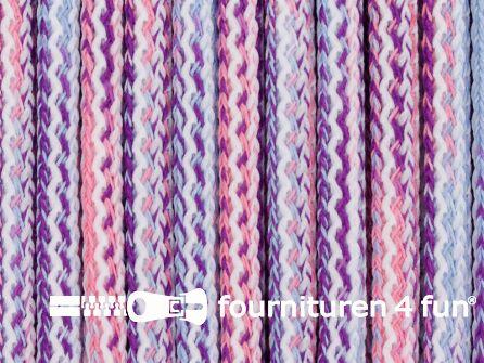 Jassen koord 8mm multicolor paars - roze - blauw
