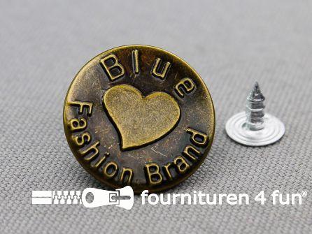 Jeansknopen 20mm 'Blue Fashion Brand' brons