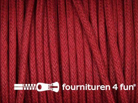 Katoen wax-look koord 3mm rood
