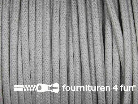 Katoen wax-look koord 3mm licht grijs