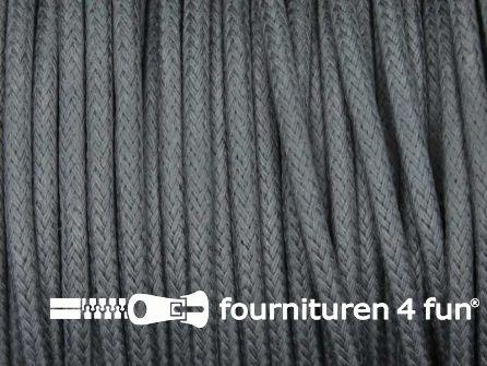 Katoen wax-look koord 3mm donker grijs