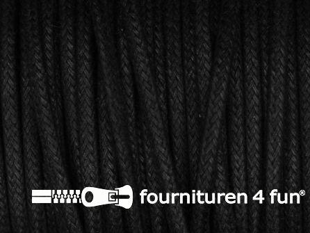 Katoen wax-look koord 3mm zwart