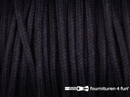 Katoen wax-look koord 3mm donker paars