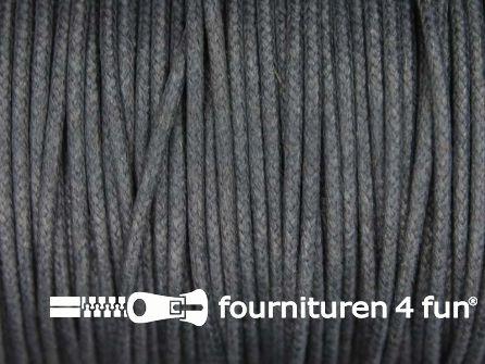Katoen wax-look koord 1,5mm donker grijs