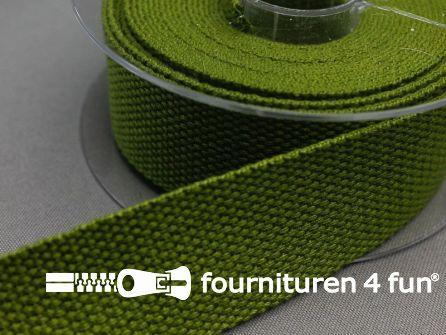 Katoen-look tassenband 32mm rol 5 meter leger groen