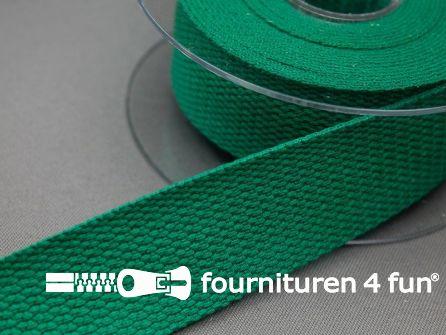 Katoen-look tassenband 32mm rol 5 meter smaragd groen