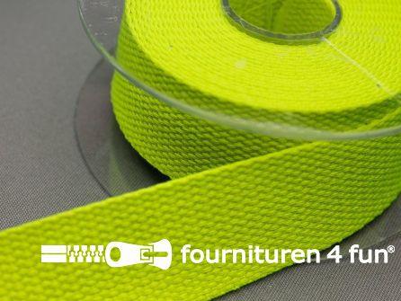 Katoen-look tassenband 32mm rol 5 meter neon geel