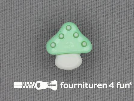 Kinderknoop paddenstoel 15mm mint groen wit