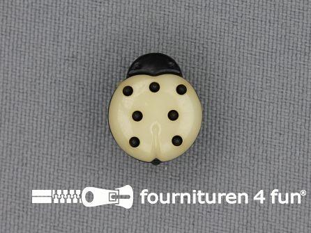 Kinderknoop lieveheersbeestje 15mm zwart beige