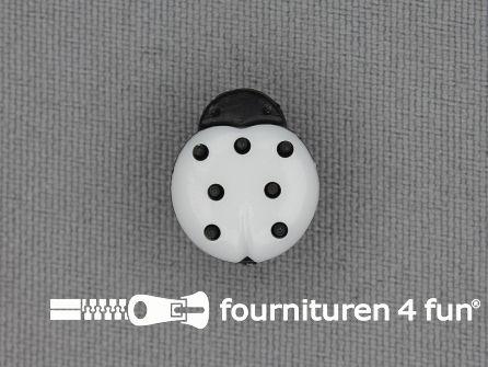Kinderknoop lieveheersbeestje 15mm zwart wit