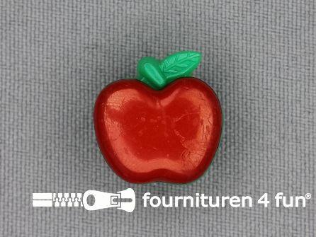 Kinderknoop appel 17mm rood groen