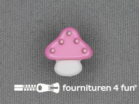 Kinderknoop paddenstoel 15mm baby roze wit