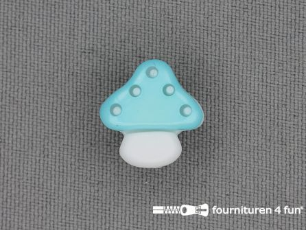 Kinderknoop paddenstoel 15mm aqua blauw wit