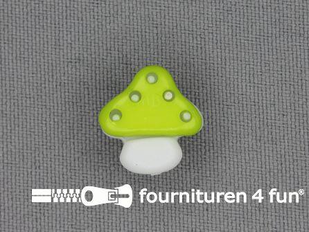Kinderknoop paddenstoel 15mm lime groen wit
