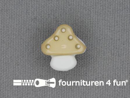 Kinderknoop paddenstoel 15mm beige wit
