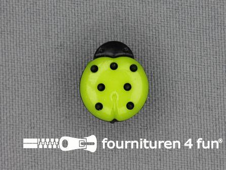 Kinderknoop lieveheersbeestje 15mm zwart lime groen