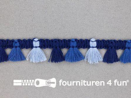 Klosjes franje 15mm blauw multicolor