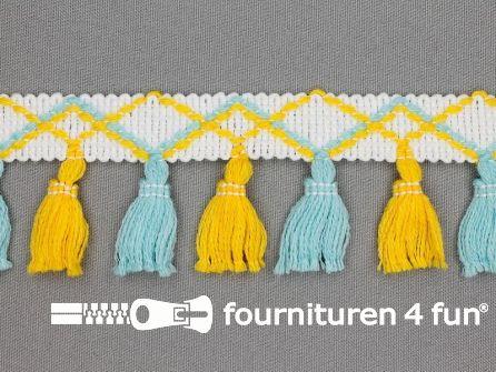 Klosjes franje 45mm blauw - geel