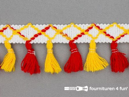 Klosjes franje 45mm rood - geel