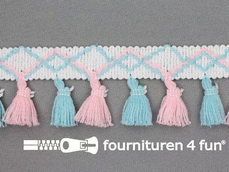 Klosjes franje 45mm baby roze - blauw