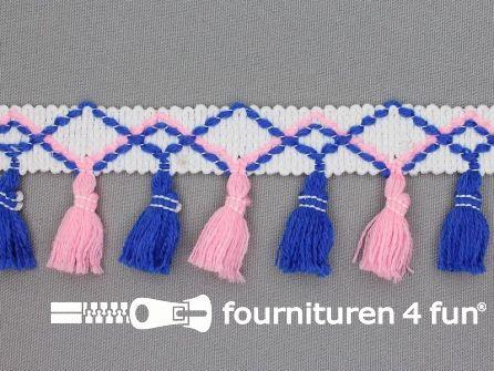 Klosjes franje 45mm blauw - roze