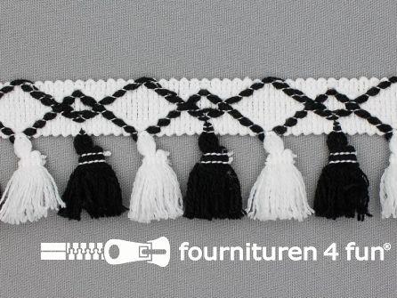 Klosjes franje 45mm zwart - wit