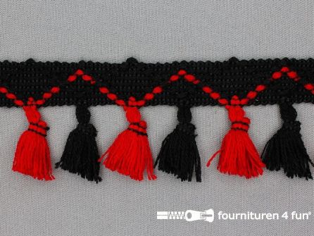 Klosjes franje 45mm zwart - rood