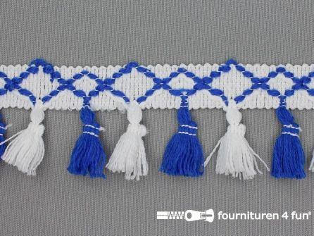 Klosjes franje 45mm blauw - wit