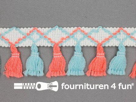 Klosjes franje 45mm oranje roze - blauw