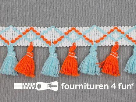 Klosjes franje 45mm oranje - blauw