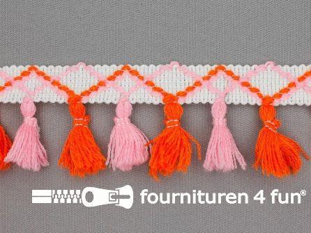 Klosjes franje 45mm oranje - roze