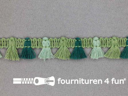 Klosjes franje 15mm groen multicolor