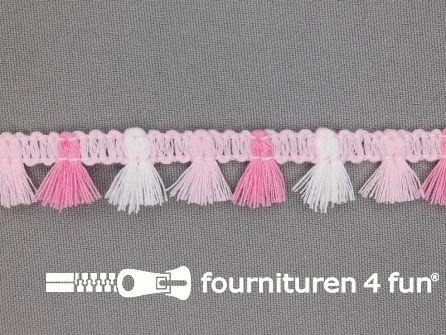 Klosjes franje 15mm roze - wit