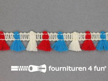 Klosjes franje 15mm rood - wit - blauw