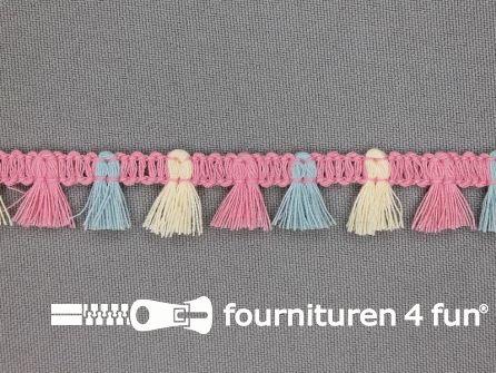 Klosjes franje 15mm roze - blauw - ecru