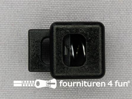 Koord stopper 23mm rechthoek zwart - extra grote opening