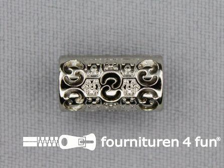 Kunststof koordeinde 15x8mm zilver
