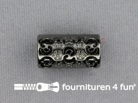 Kunststof koordeinde 15x8mm zwart zilver