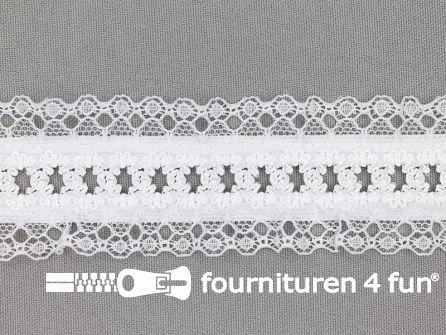 Elastisch kant 38mm kousenband wit