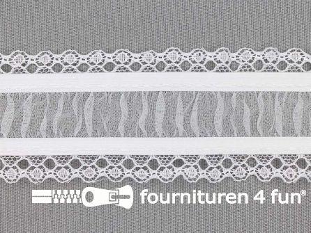 Elastisch kant 45mm kousenband wit