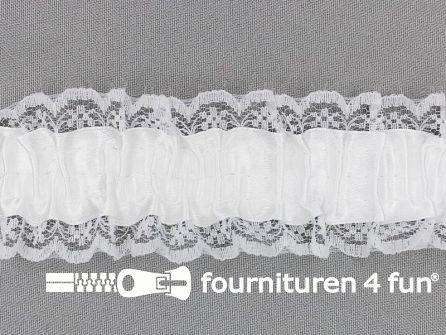 Elastisch kant 40mm kousenband wit