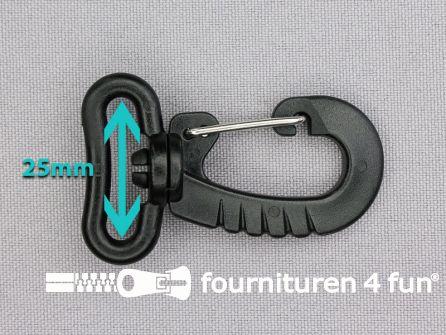Kunststof musketon - metalen clip - 25mm zwart