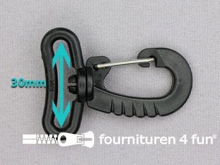 Kunststof musketon - metalen clip - 30mm zwart