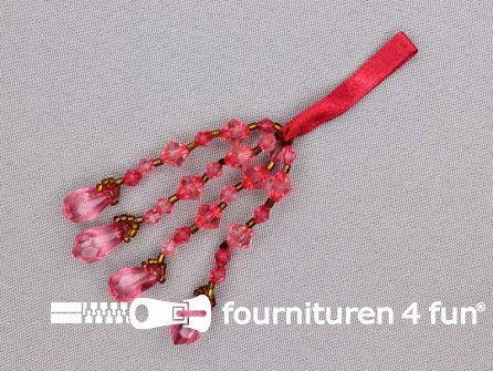 Kwastje met strass steentjes 105mm fuchsia roze