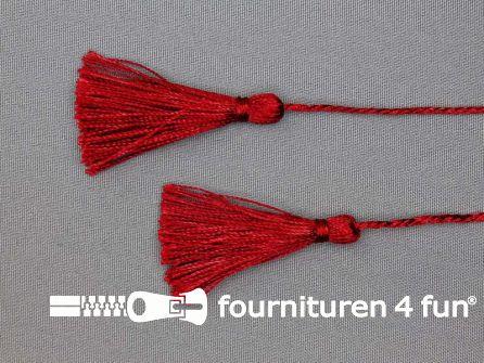 2 kwastjes 55mm met koord bordeaux rood
