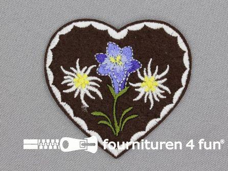 Landhuis applicatie 60x58mm hart met edelweiss & gentiaan