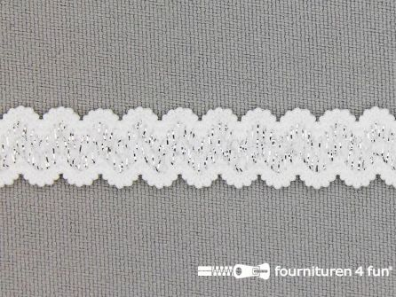 Lingerie elastiek 11mm wit - zilver