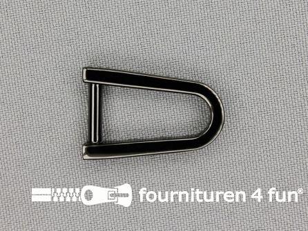 Luxe D-ring 12mm glimmend zwart